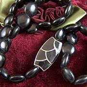 Vintage signed Trifari Square Round Black Beaded Pendant Necklace