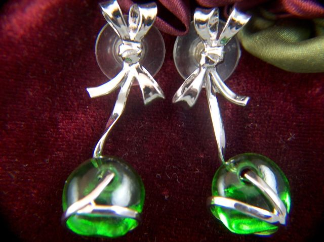 Vintage Sterling Silver Blown Green Glass Bow Drop Earrings - Post Backs