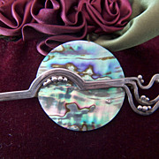 Vintage Modernist Sterling Silver Abalone Sunset Brooch Pin