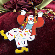 Vintage signed Sara Coast Enamel on Copper Sliding Clown Gold Filled Necklace