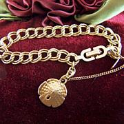 Vintage signed MONET Textured Links Starter Charm Bracelet - Sand Dollar Charm