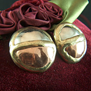 Vintage Signed Hand Made Mixed Metals Dome Post Earrings - Silver, Copper, Brass
