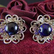 Vintage Royal Blue Glass Balls Filigree Clip Earrings