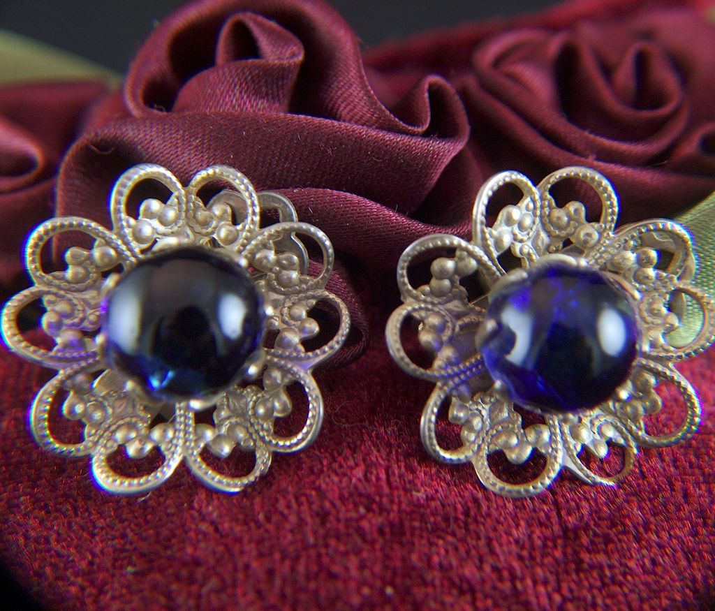 Vintage Royal Blue Glass Balls Filigree Clip Earrings