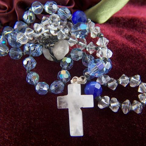 Vintage hand made Rustic Crystal Bead and Natural Stone Rosary