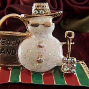 Vintage signed TC Christmas Enamel Rhinestone BEACH SAND Snowman Brooch Pin