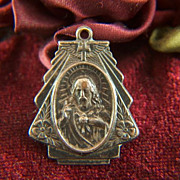 Vintage Brass Sacred Heart / Madonna and Child Medal - Angel wings and cross
