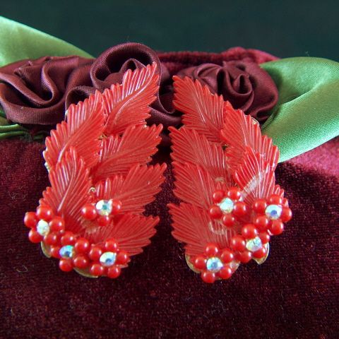 Vintage Red Plastic Leaves Posies and Rhinestones Clip Earrings