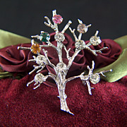Vintage Sterling Silver Tree of Life Rhinestone Brooch Pin
