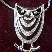 Vintage signed EISENBERG Rhinestone and Black Enamel Owl Necklace