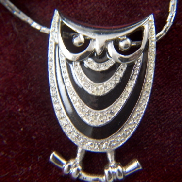 Vintage signed EISENBERG Rhinestone and Black Enamel Owl Necklace