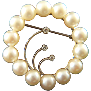 Vintage and Gorgeous 14K White Gold with Diamonds and Pearls Eternity Brooch Pin