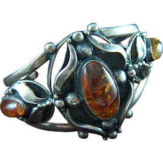 Vintage Artisan Made Sterling Silver and Russian Amber Cuff Bracelet