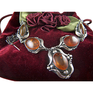 Vintage Artisan Made Sterling Silver and Russian Amber Necklace