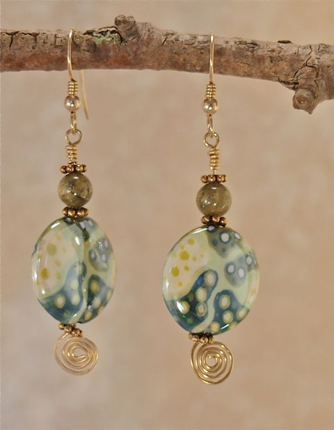 Ceramic & Green Garnet Earrings