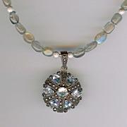 LUBERON- Sky blue topaz pendant & Labradorite Necklace