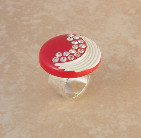 Red Carved Celluloid & Rhinestones Ring