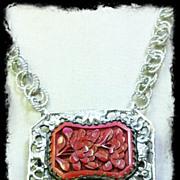 """""""FLEUR ROUGE""""- Cinnabar & Silver Necklace"""