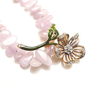FLEUR ROSE - Enamel & Crystal Flower Brooch & Kunzite Necklace