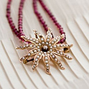 DIAMANT ETOILE- antique gold, diamond & pearl pendant and garnet necklace
