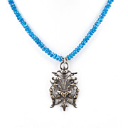 BOUQUET ARGENT -  Silver Plated Pendant & Dark Apatite Necklace