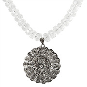 "Filigree & Rock Crystal ""Fleur de Dentelle"" Necklace"