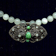 """Green Moon"" Vintage French Brooch & Moonstone"