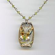 PAPILLON- Vintage Chinese Enamel Pendant & Peridot Necklace