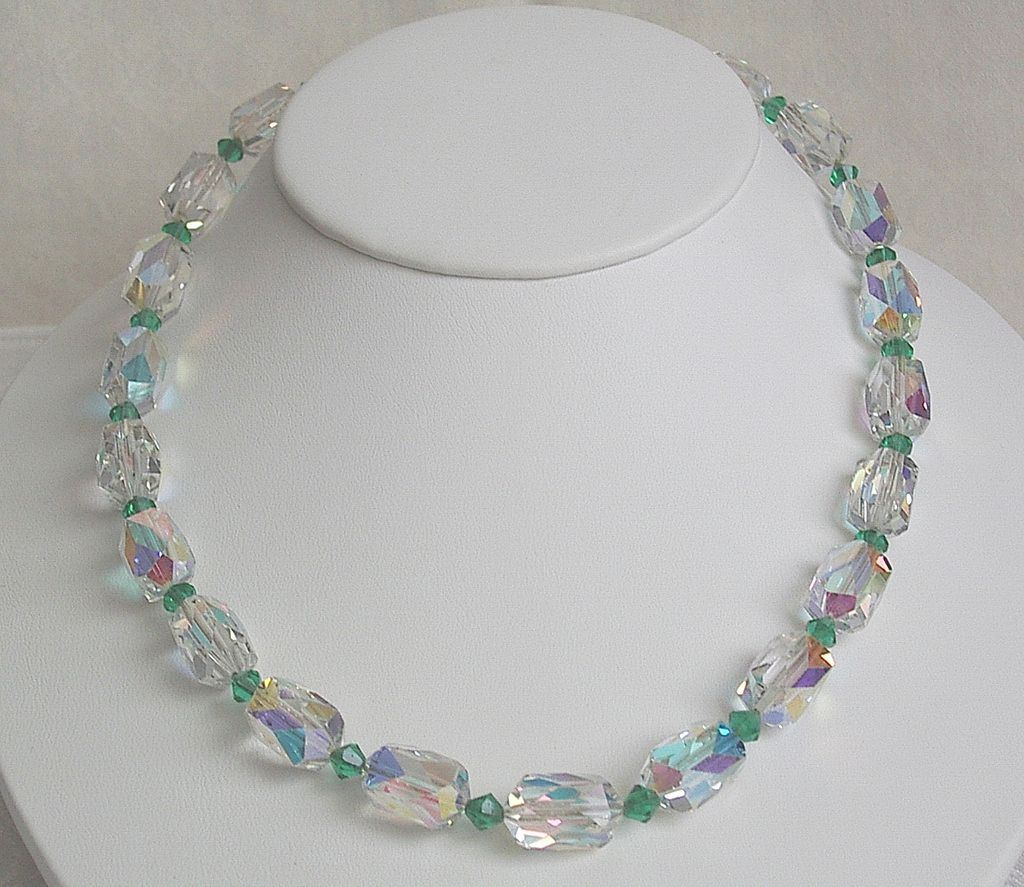 Vintage Oval AB and Green Crystals Choker Necklace.