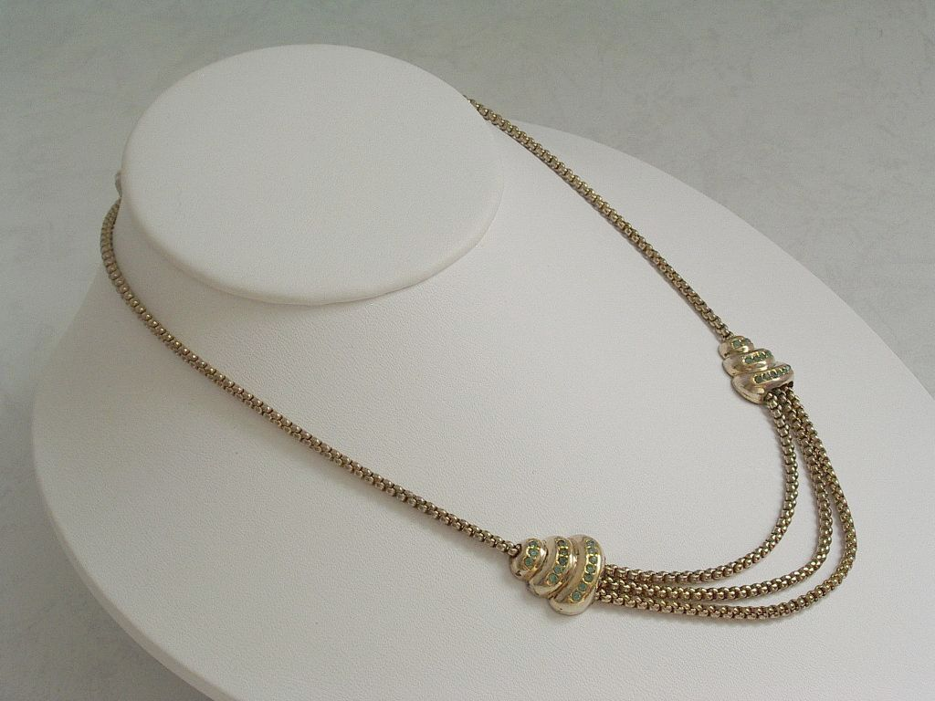Vintage Bond Boyd Gold Plated Sterling Necklace - signed.