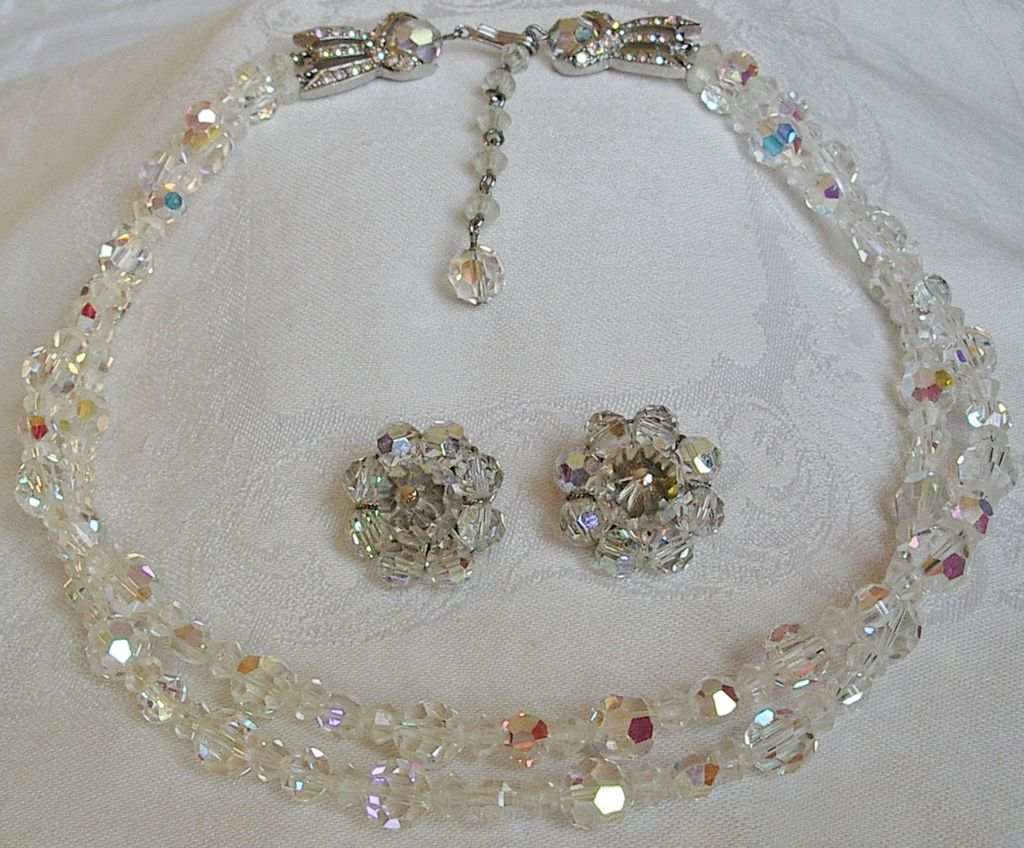 Avon of Belleville 2 Strand AB Crystals Necklace and Earrings.