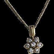 Vintage Vermeil Sterling Silver CZ Flower Pendant.