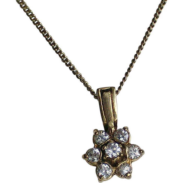 Vintage Vermeil Sterling Silver CZ Flower Pendant Necklace.