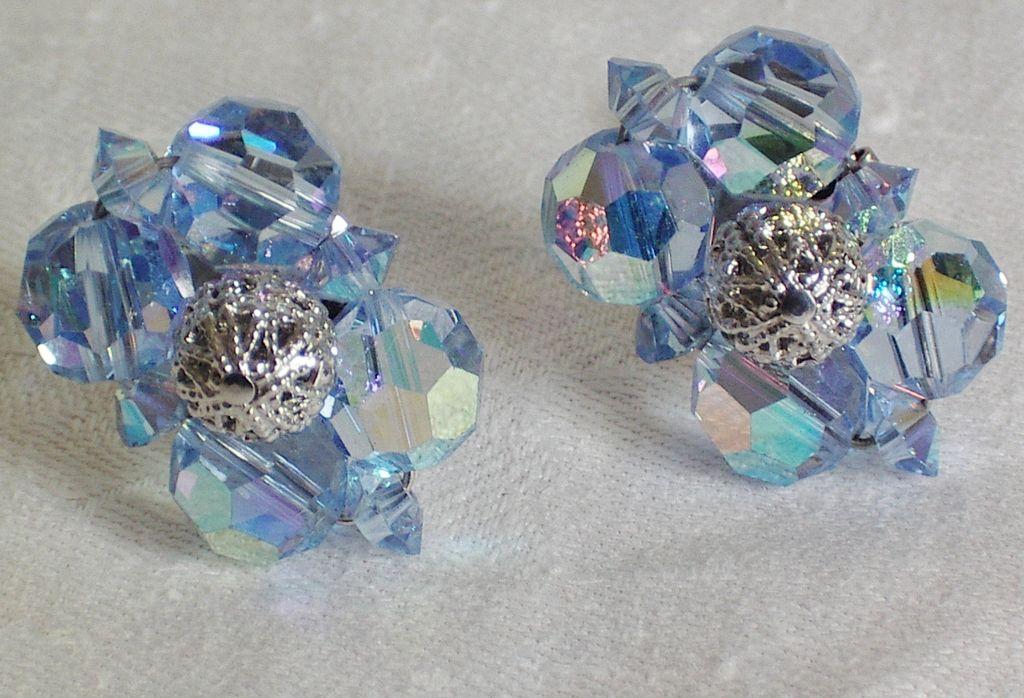 Sherman Blue AB Crystal Silvertone Clip Earrings - signed.