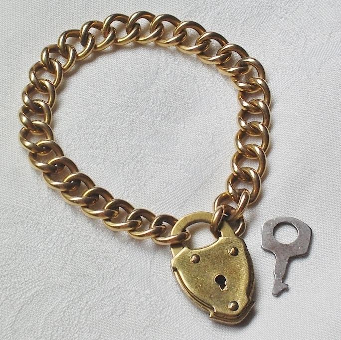 Vintage 10K GF Curb Link Bracelet Heart Padlock & Key