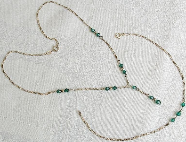 Sterling Figaro Chain Teal Beads Necklace and Bracelet Italy.