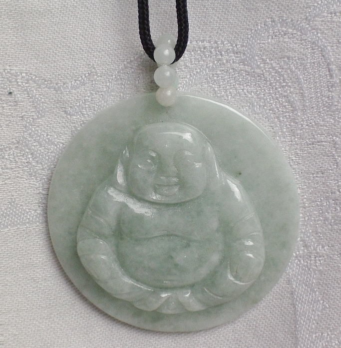 Vintage Light Green Carved Buddha Pendant Necklace.