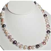 14K Multi-color Baroque Coin Freshwater Cultured Pearls