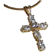 18K GP Sterling Silver Snake Chain Italy CZ Cross Necklace