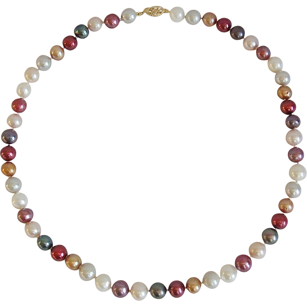 Multi-color 8mm Freshwater Cultured Pearls 14K Clasp