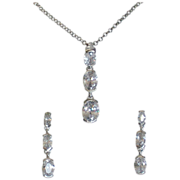Sterling Silver Cubic Zirconia Necklace and Drop Earrings Set