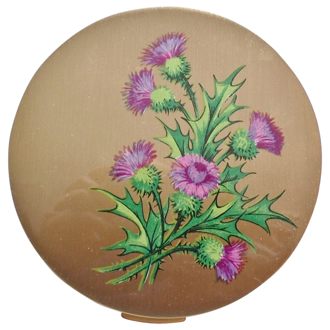 Vintage Stratton England Thistle Goldtone Compact