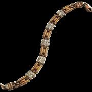 Vermeil Sterling Silver Rhinestone Link Bracelet Italy