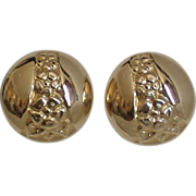 10K Patterned Button Stud Earrings