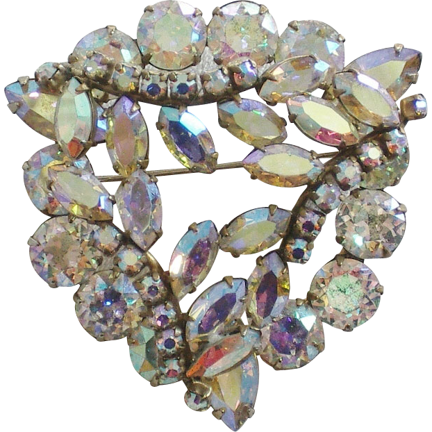 Signed Sherman Layered AB Rhinestone Brooch