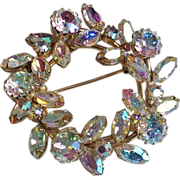 Signed Sherman Swarovski AB Rhinestone Wreath Brooch