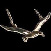 Vermeil Sterling Flying Bird Pendant Necklace signed JF