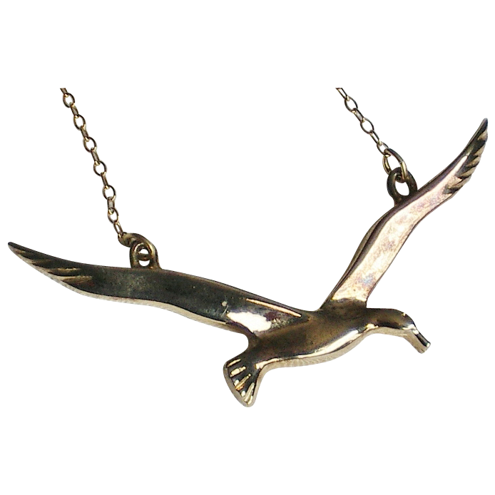 Vermeil Sterling Flying Bird Pendant Necklace signed JF