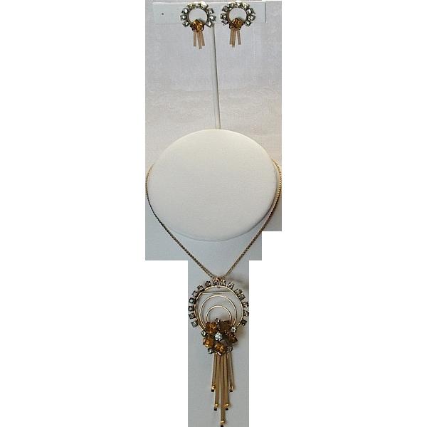 12K  G.F.  Brooch Pendant Earrings Set c.1940