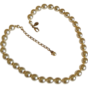 Single Strand Faux Pearl Necklace Signed Kenneth Jay Lane